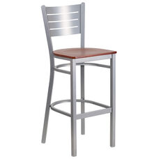 Silver Slat Back Metal Restaurant Barstool with Cherry Wood Seat