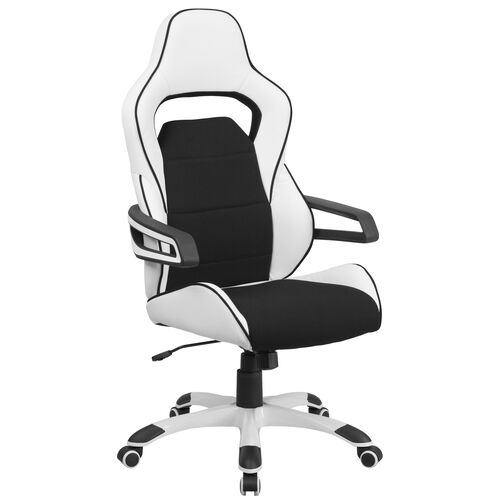 Our High Back White Vinyl Executive Swivel Office Chair with Black Fabric Inserts and Arms is on sale now.