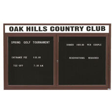 2 Door Indoor Illuminated Enclosed Directory Board with Header and Bronze Anodized Aluminum Frame - 36