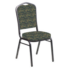 Embroidered Crown Back Banquet Chair in Perplex Clover Fabric - Silver Vein Frame