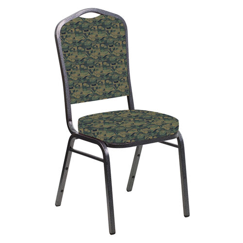 Our Embroidered Crown Back Banquet Chair in Perplex Clover Fabric - Silver Vein Frame is on sale now.