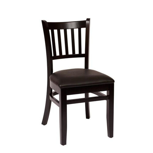 Our Delran Black Wood Slat Back Chair - Vinyl Seat is on sale now.