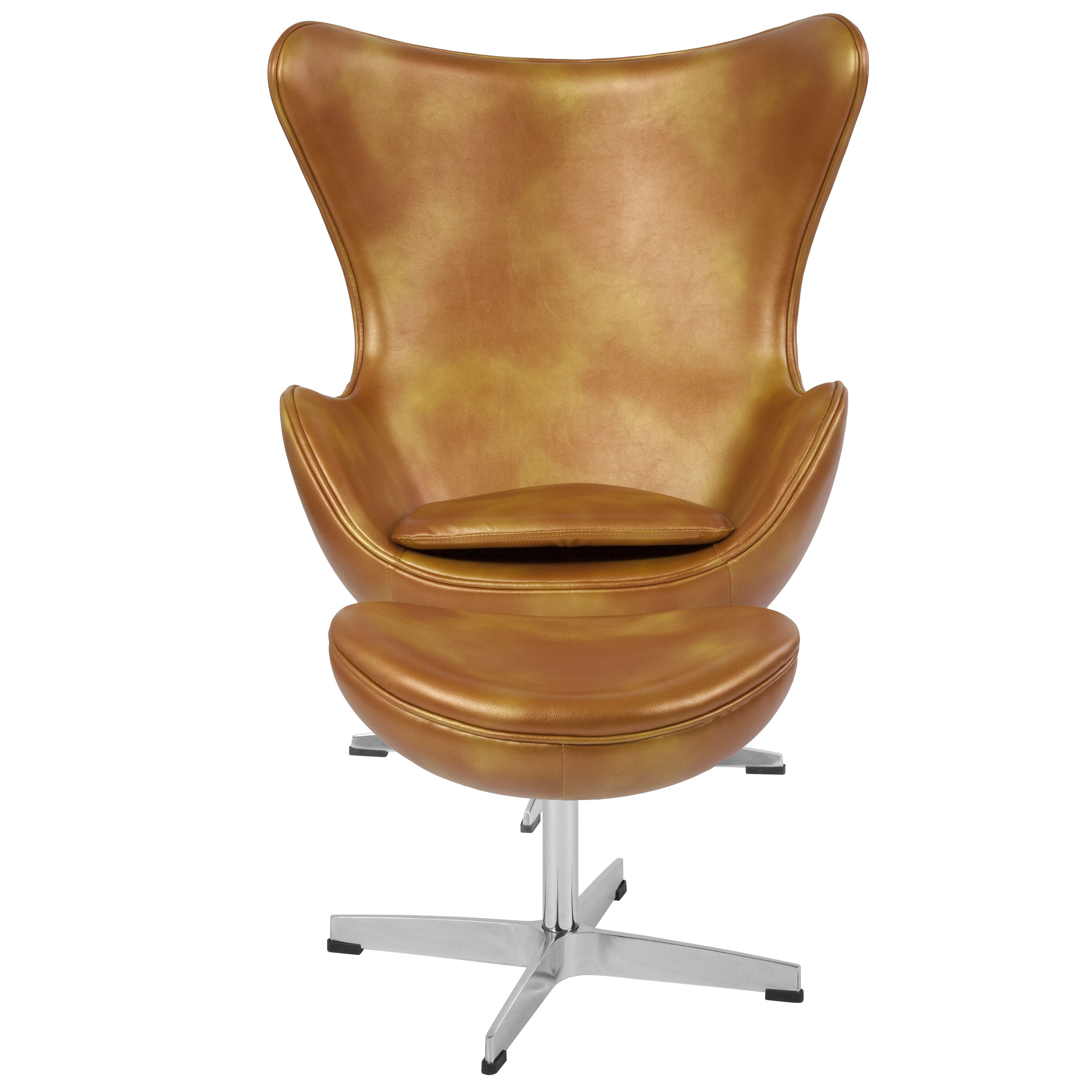 Delicieux ... Our Gold Leather Egg Chair With Tilt Lock Mechanism And Ottoman Is On  Sale Now