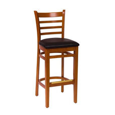 Burlington Cherry Wood Ladder Back Barstool - Vinyl Seat