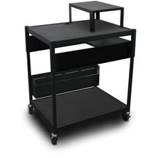 Spartan Series Adjustable Cart with One Pull-Out Side-Shelf and Expansion Shelf - Black