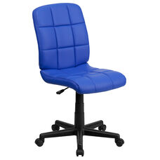Mid-Back Blue Quilted Vinyl Swivel Task Office Chair