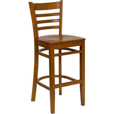 Cherry Finished Ladder Back Wooden Restaurant Barstool