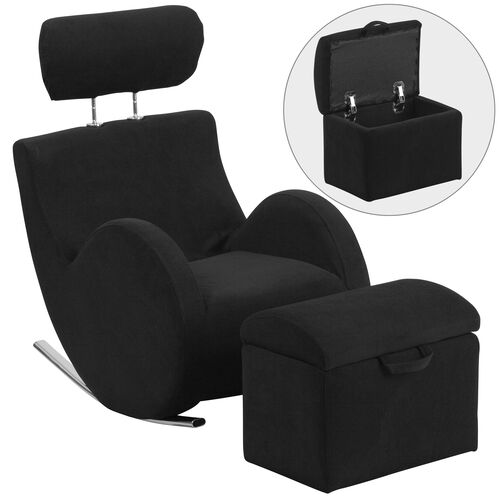 Our HERCULES Series Black Fabric Rocking Chair with Storage Ottoman is on sale now.