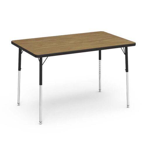 4000 Series Adjustable Height Rectangular Laminate Activity Table with Medium Oak Top - 30