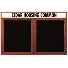 2 Door Enclosed Changeable Letter Board with Header and Cherry Finish - 36