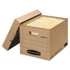 Bankers Box® Filing Storage Box with Locking Lid - Letter/Legal - Kraft - 25/Carton