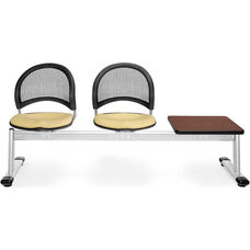 Moon 3-Beam Seating with 2 Golden Flax Fabric Seats and 1 Table - Mahogany Finish