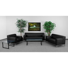 "HERCULES Definity Series Reception Set in Black LeatherSoft with <span style=""color:#0000CD;"">Free </span> Tables"