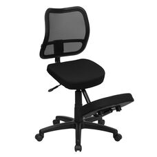 Mobile Ergonomic Kneeling Swivel Task Chair with Black Mesh Back