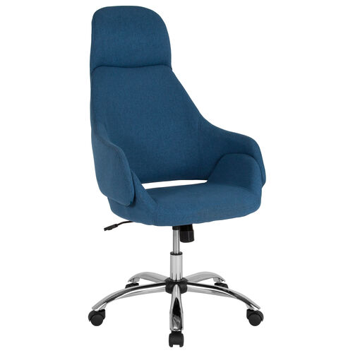 Marbella Home and Office Upholstered High Back Chair in Blue Fabric