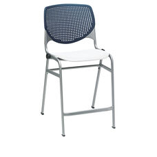 KOOL Series Stacking Poly Counter Height Stool with Navy Perforated Back and Silver Frame - White Seat