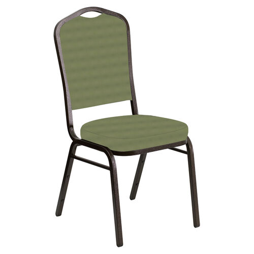 Our Embroidered Crown Back Banquet Chair in Harmony Sea Green Fabric - Gold Vein Frame is on sale now.