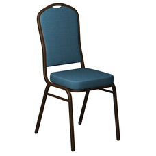 Embroidered Crown Back Banquet Chair in Shire Spa Blue Fabric - Gold Vein Frame