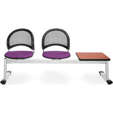 Moon 3-Beam Seating with 2 Plum Fabric Seats and 1 Table - Cherry Finish