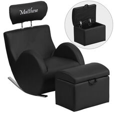 Personalized HERCULES Series Black Vinyl Rocking Chair with Storage Ottoman