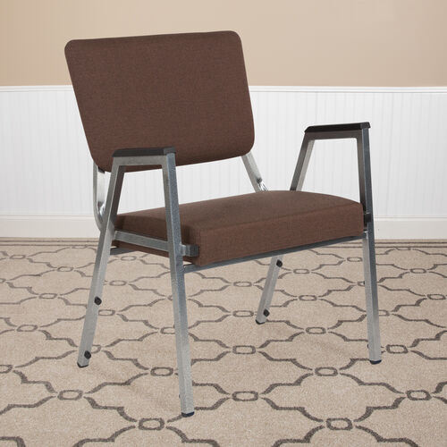 HERCULES Series 1500 lb. Rated Brown Antimicrobial Fabric Bariatric Antimicrobial Medical Reception Arm Chair with 3/4 Panel Back