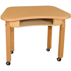 Mobile Synergy Classroom High Pressure Laminate Desk with Hardwood Legs - 30''W x 18''D x 21''H