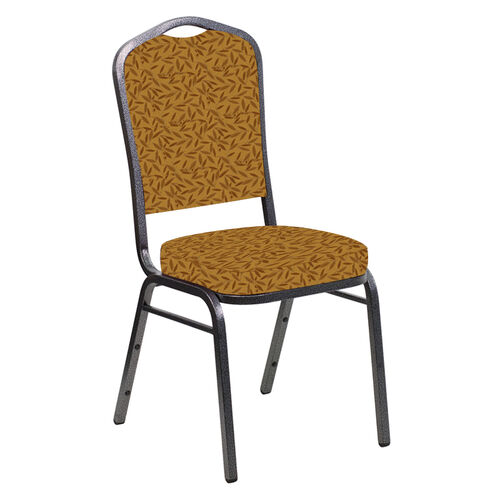 Our Embroidered Crown Back Banquet Chair in Jasmine Mojave Gold Fabric - Silver Vein Frame is on sale now.
