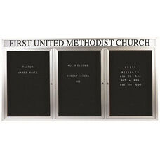 3 Door Outdoor Enclosed Directory Board with Header and Aluminum Frame - 36