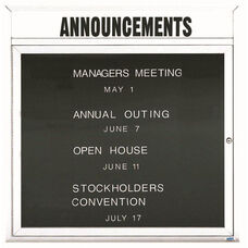 1 Door Outdoor Enclosed Directory Board with Header and White Anodized Aluminum Frame - 36