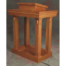 Stained Red Oak Open Tiered Pulpit with Accented Fluted Column Legs and Lift Lid