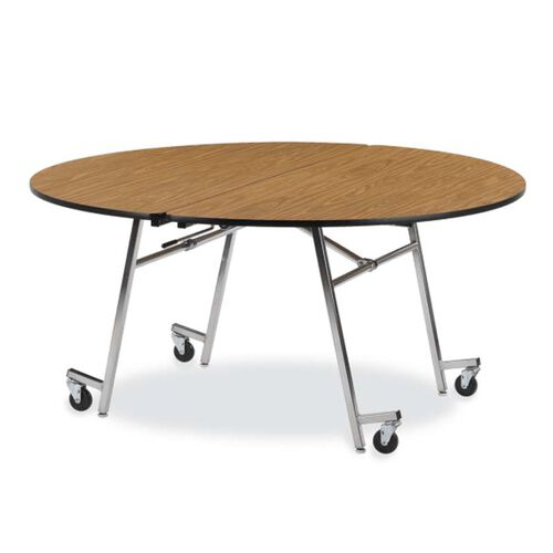 Our MT Series Round Mobile Medium Oak Laminate Top Folding Table with Chrome Frame - 60