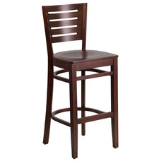 Walnut Finished Slat Back Wooden Restaurant Barstool