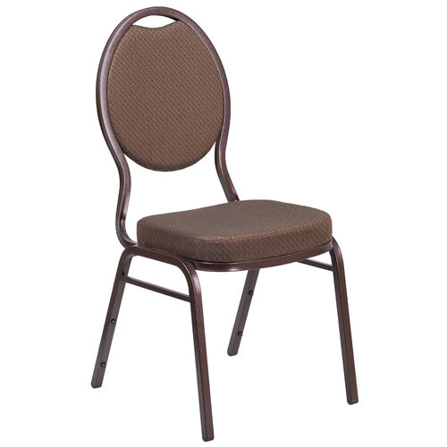 Our HERCULES Series Teardrop Back Stacking Banquet Chair in Brown Patterned Fabric - Copper Vein Frame is on sale now.
