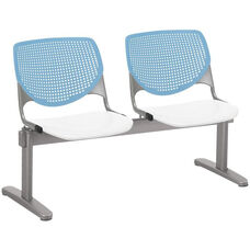 2300 KOOL Series Beam Seating with 2 Poly Sky Blue Perforated Back Seats and White Seats