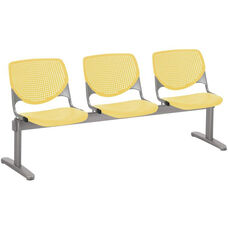 2300 KOOL Series Beam Seating with 3 Poly Perforated Back and Seats with Silver Frame - Yellow