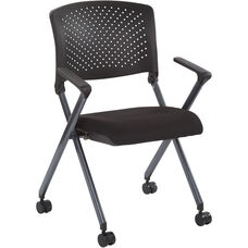 Work Smart Plastic Back Nesting Chair with Titanium Frame - Set of 2 - Black Icon