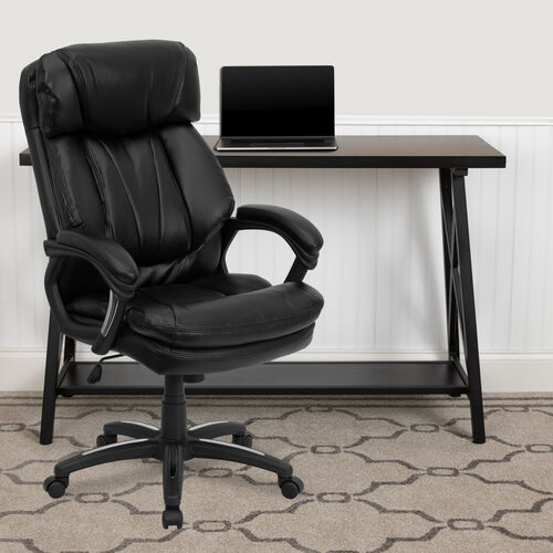 High Back Black LeatherSoft Executive Swivel Ergonomic Office Chair with Plush Headrest, Extensive Padding and Arms