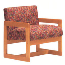 5901 Lounge Chair w/ Wood Frame, Upholstered Spring Back & Seat - Grade 1