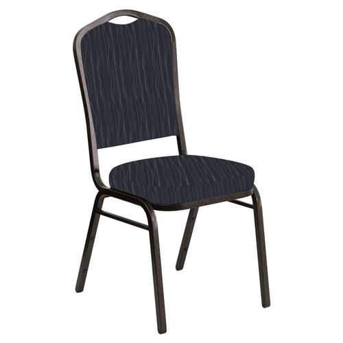Our Embroidered Crown Back Banquet Chair in Mystery Cobalt Fabric - Gold Vein Frame is on sale now.