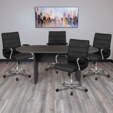 5 Piece Rustic Gray Oval Conference Table Set with 4 Black and Chrome LeatherSoft Executive Chairs