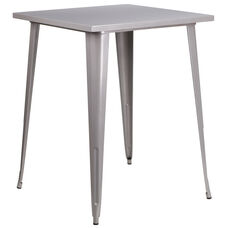 "Commercial Grade 31.5"" Square Silver Metal Indoor-Outdoor Bar Height Table"