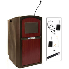 Pinnacle Wireless 150 Watt Sound and Microphone Full Height Lectern - Mahogany Finish - 26