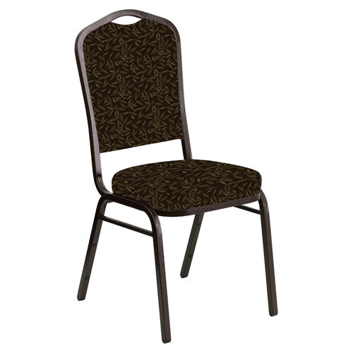 Our Embroidered Crown Back Banquet Chair in Jasmine Chocolate Fabric - Gold Vein Frame is on sale now.