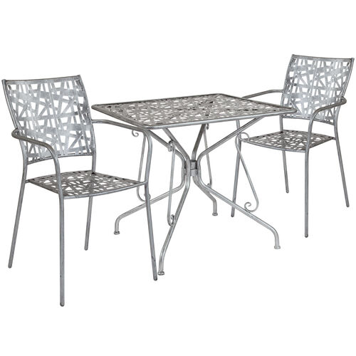 "Our Agostina Series 31.5"" Square Antique Silver Indoor-Outdoor Steel Patio Table with 2 Stack Chairs is on sale now."