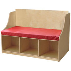 Wooden Reading Bench With Storage Compartments and Vinyl Cushion - 41