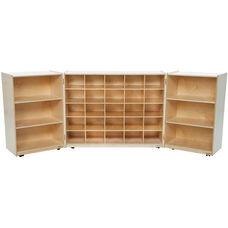 Wooden Tri-Fold Mobile Storage Unit with 25 Orange Plastic Trays - 96