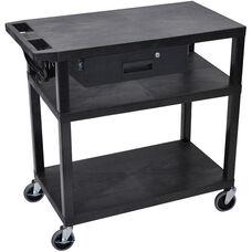 Molded Thermoplastic Resin 3 Shelf Presentation Cart with Locking Drawer - Black - 32