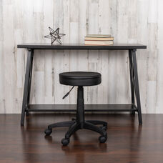 Black Adjustable Doctors Stool on Wheels with Ergonomic Molded Seat
