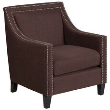 Hercules Comp Series Transitional Brown Fabric Chair With Walnut Legs