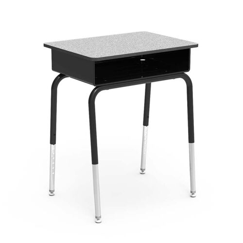 Our Quick Ship 785 Series Gray Nebula Laminate Top Student Desk with Black Open Front Metal Book Box, Edge, and Frame - 18